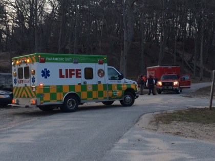 Rescue personnel stage in the Ludington State Park Cedar Campground.