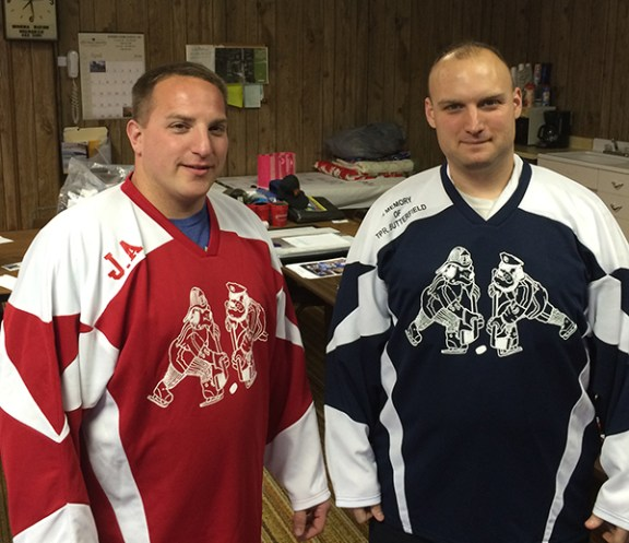 Justin Melchert, left, and Scott Domin are playing for the Smoke Eaters team.