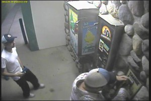 Surveillance video showing suspects stealing coins from West Coast Car Wash.