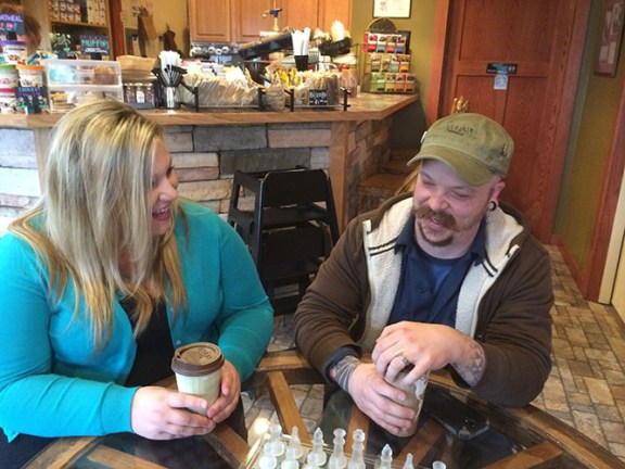 Brandy Henderson and Andrew Thomas talk about Ludington's future during coffee at Riverflats Coffee & Tea in PM Twp.
