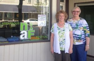 National Asparagus Board Secretary Christine Rickard, left, and President Linda Foster are busily preparing for next weekend's National Asparagus Festival. They are among many volunteers who work to make the festival a success every year. Foster is retiring after 10 years of service.