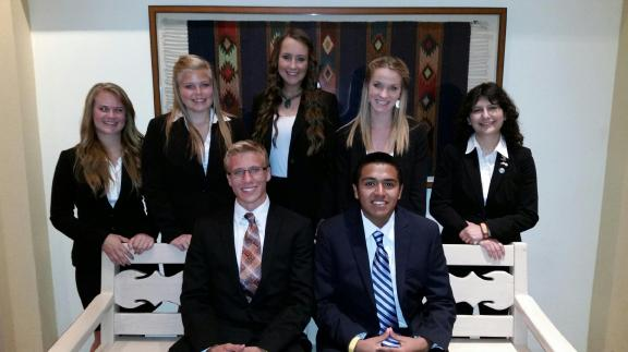 Front left to right: Joshua Ritzema, Cesar Gamez, back Katelyn Graczyk, Jessica Johnson, Gabrielle Kelly, Samantha MacDonnell, and Autumn Espinoza