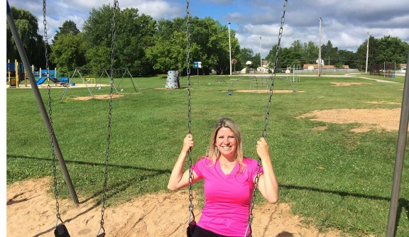 Stephanie Muralt is president of the Scottville Elementary PTC and one of several volunteers helping with playground improvements.