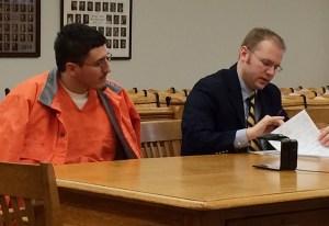 Jacobsen, left, with his attorney, David Glancy.