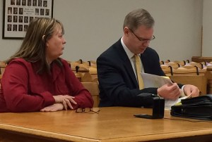 Larr, left, with her attorney Ryan Glanville.