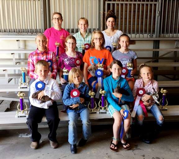 Rabbits, showmanship Front row, from left: Joseph Kline, first place, open youth 5- to 6-year-olds; Brailyn Johnson, second place, open youth 5-6; Julia Gilchrist, first place, open youth 7-8; Keeli Johnson, second place, open youth 7-8. Second row: Mikaylyn Kenney, first place, beginner; Kendra Gilchrist, second place, beginner; Rachel Raust, first place, intermediate; Rachel Doyle, second place, intermediate. Third row: Stephanie Doyle, first place, junior; Andrea Shoop, second place, junior; Amy Grace Shoop, first place, senior.