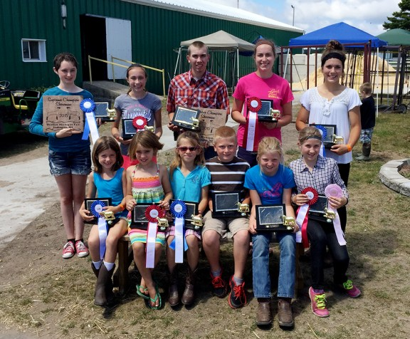 Sheep showmanship Front, from left: Kasey Gaudett, first place open youth, 5- to 6-year-olds; Autumn Weidus, second, 5-6; Lucy Shoup, first place open youth 7-8; Alex Tyndall, second place open youth 7-8; Briana Crawford, first place beginner; Ashlyn Rose Kelley, second place beginner. Second row: Ella Stone, first place, intermediate and supreme showman; Rachel Doyle, second intermediate; Preston Kelley, first junior and reserve; Stephanie Doyle, second junior; Amy Grace Shoop, first senior.