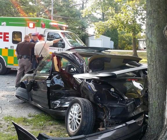 Crash near the Hamlin Lake South Bayou Thursday afternoon.