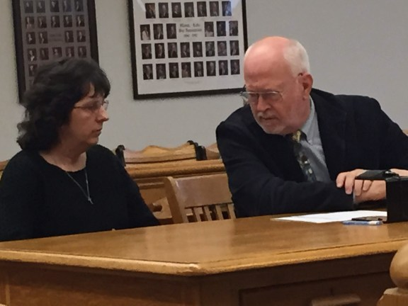 Laurie Bell with her attorney, Douglas Stevenson.