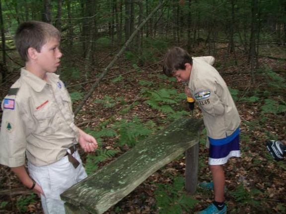 Boy scouts Nate Combs, left and Stephen Boyko.