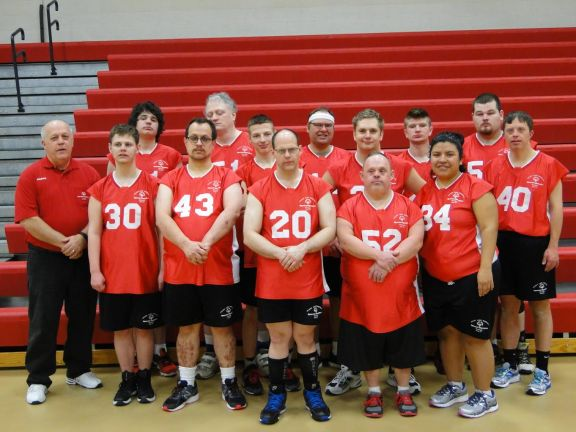 Area 24 Red Devils. From left, front: Coach Grant Griswold, Cody Fleetwood, Alfred Finner, Mike Witkowski, Jim Treml and Guadalupe Covarrubias. Back: Dakota Wallager, Logan Grabowski and Cary Dodson. Back Row--Jayden Chosa, Paul Lefler, Jason DeVrie, Leon Picket and Tom England. Absent from photo : Coach Bob Grabowski.