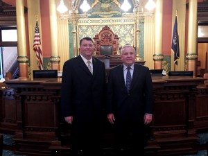 Rob Alway, editor-in-chief, with Rep. Franz.