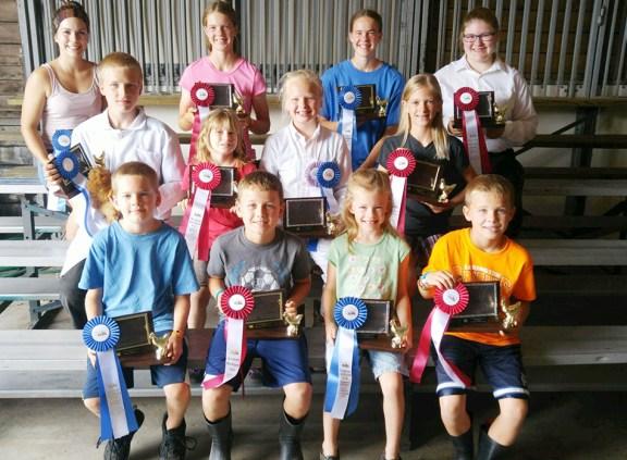Chicken showmanship: Front row, from left: 7-8-year-old: Jared Wilson, 1st, William Ruboyianes, 2nd; 5-6: Greta Wilson, 1st, Landon Ruboyianes, 2nd. Second row: 11-13: Tyler Hepworth, 1st, Amelia Malburg, 2nd; 9-10: Laura Hepworth, 1st, Ashley McPike, 2nd. Third row: 17-19: AmyGrace Shoop, 1st, JoyEllen Wilson, 2nd; 14-16: Miriam Wilson, 1st, Alexandria Root, 2nd.