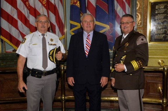 From left: Sheriff Robinson, Rep. Franz, Sheriff Cole.