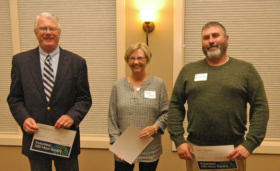 Honored for the first major milestone in their volunteer careers at Spectrum Health Ludington Hospital were, from left: Paul Montminy, Carol Johnson, and Dustin Walsworth. Also honored for 100 hours of service were Karen Boyd and Connie Saunders.