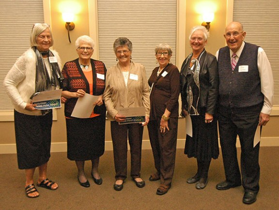 Receiving accolades for at least 1,000 hours of service in their volunteer careers were, l. to r., Judy Thiel, 16,000 hours; Joyce Rupert and Beverly Curtis, 1,000; Shirley Wright, 4,000; Karen Posma, 2,000; and Allan Carlson, 7,000. Also recognized were Bethany Norton, Joyce Stancill and Zelal Umran, 1,000, and Terri Langerak, 2,000.