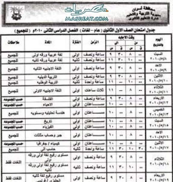 جدول امتحانات الصف الاول الثانوي 2010 اسوان