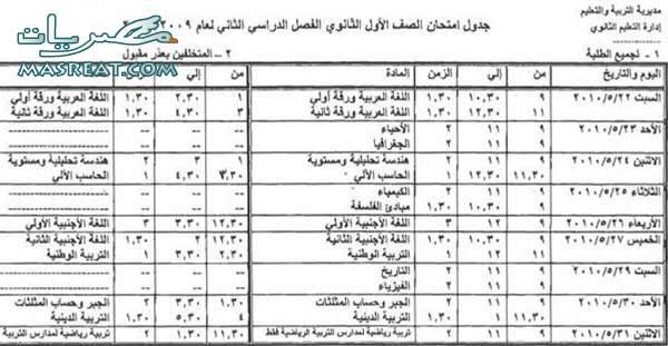 جدول امتحانات الصف الاول الثانوي 2010 كفر الشيخ