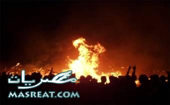 حريق مصنع سيراميك برج العرب