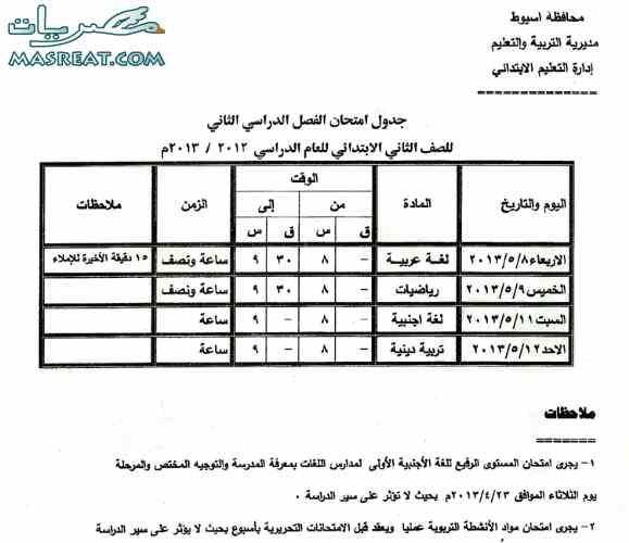 جدول امتحانات الصف الثاني الابتدائي 2018 اسيوط