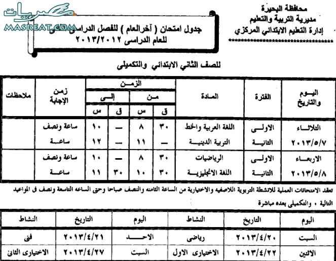 جدول امتحانات الصف الثاني الابتدائي 2018 محافظة البحيرة