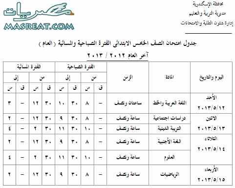 تحميل جدول امتحانات الصف الخامس الابتدائي 2018 بالاسكندرية