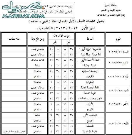 جدول امتحانات الصف الاول الثانوي 2018 الجيزة
