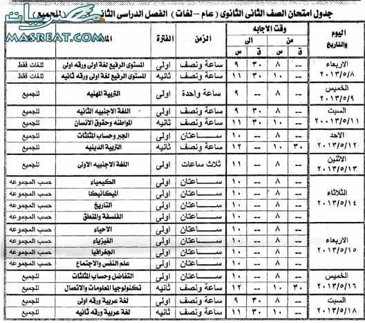 تحميل جدول امتحانات الصف الثاني الثانوي 2018 اسوان الترم الثاني