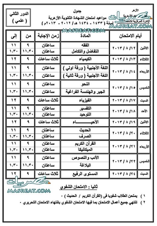 جدول امتحانات الشهادة الثانوية الازهرية الدور الثانى 2013 علمي