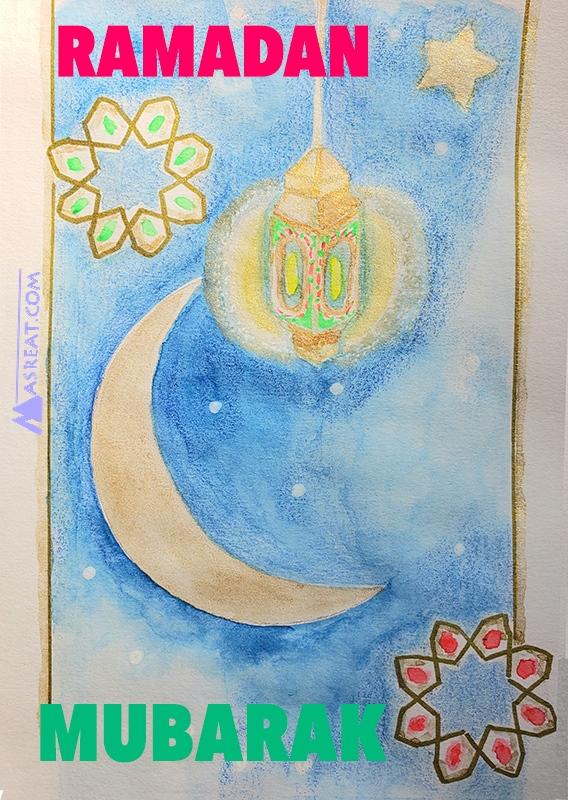 صورة رسم رمضان مبارك انجليزي