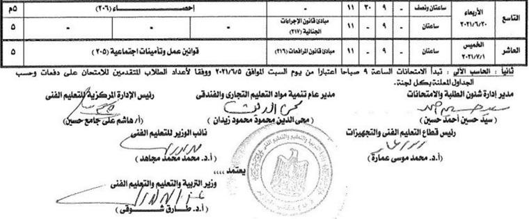 جدول امتحانات الدبلومات الفنية 2021