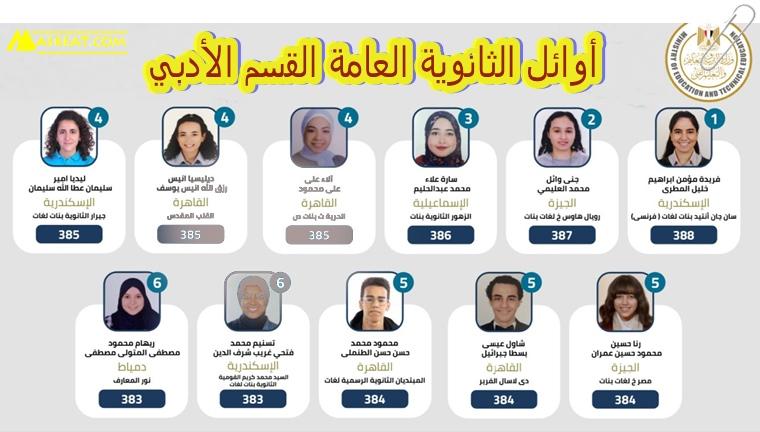 صور واسماء أوائل الثانوية العامة - الشعبة الادبية 2021