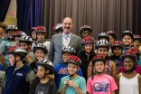 Attorney Marc L. Breakstone and the fifth-graders at the Dr. Albert F. Argenziano School in Somerville. Breakstone, White & Gluck donated 300 helmets to students who finished the CYCLE Kids curriculum.