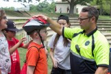 After the Q&A session, Quincy police officers fit each 5th grader's helmet.