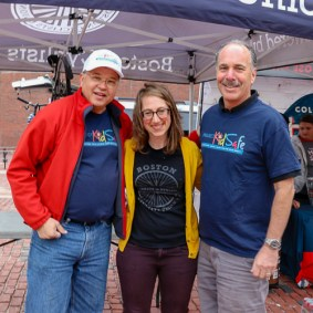 Attorney David W. White, Becca Wolfson, Executive Director of the Boston Cyclists Union and Attorney Marc L. Breakstone.
