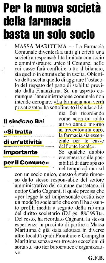 farmacia Massa articolo nazione 5 5 2006