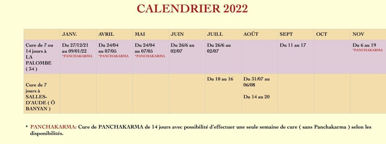 calendrier des cures ayurvédiques Ô banyan 2022