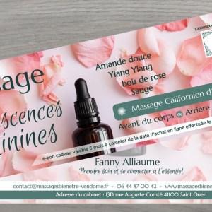 Bon cadeau Massage californien huiles essentielles pour femme
