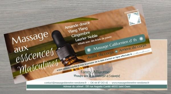 Bon cadeau Massage californien huiles essentielles pour homme