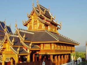 Thai Temple in the light of the setting sun