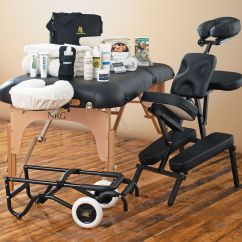 Nrg Massage Chair Black Leather With Ottoman Karma Table Cart Business Kit