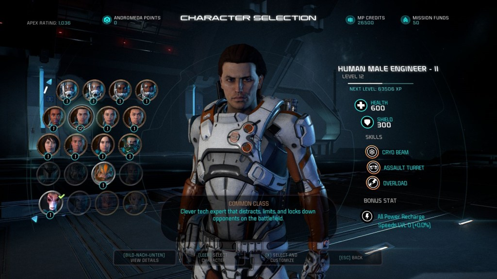 Mass Effect Andromeda Multiplayer Charakterauswahl