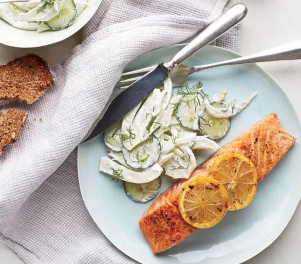Salmon with Creamy Cucumber-Fennel Salad