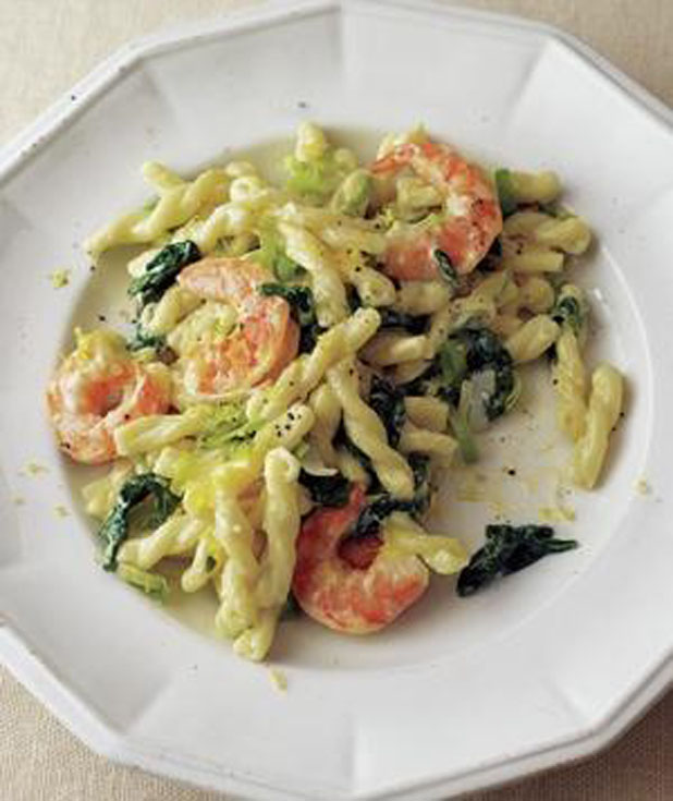Shrimp with Spinach Pasta