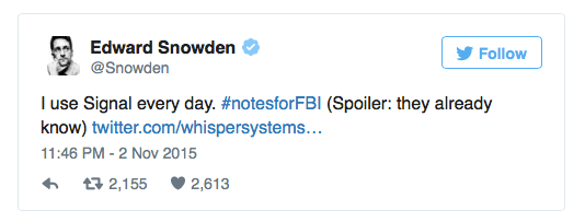 Edward Snowden uses Signal