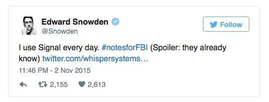 Edward Snowden uses Signal