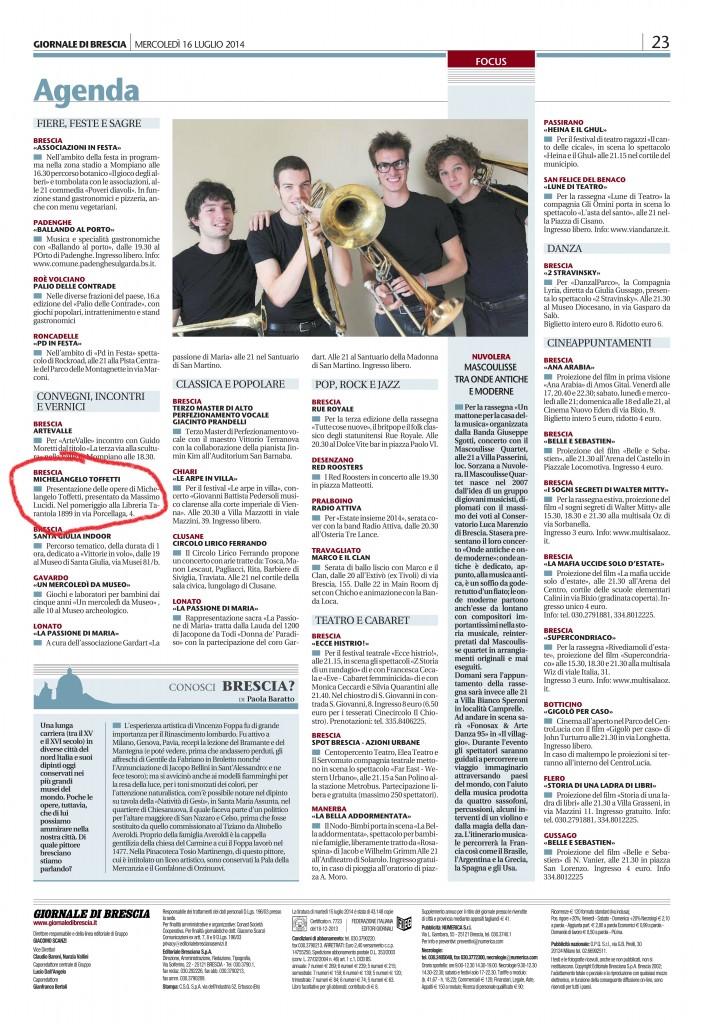 Giornale di Brescia 16-07-2014 pag. 23
