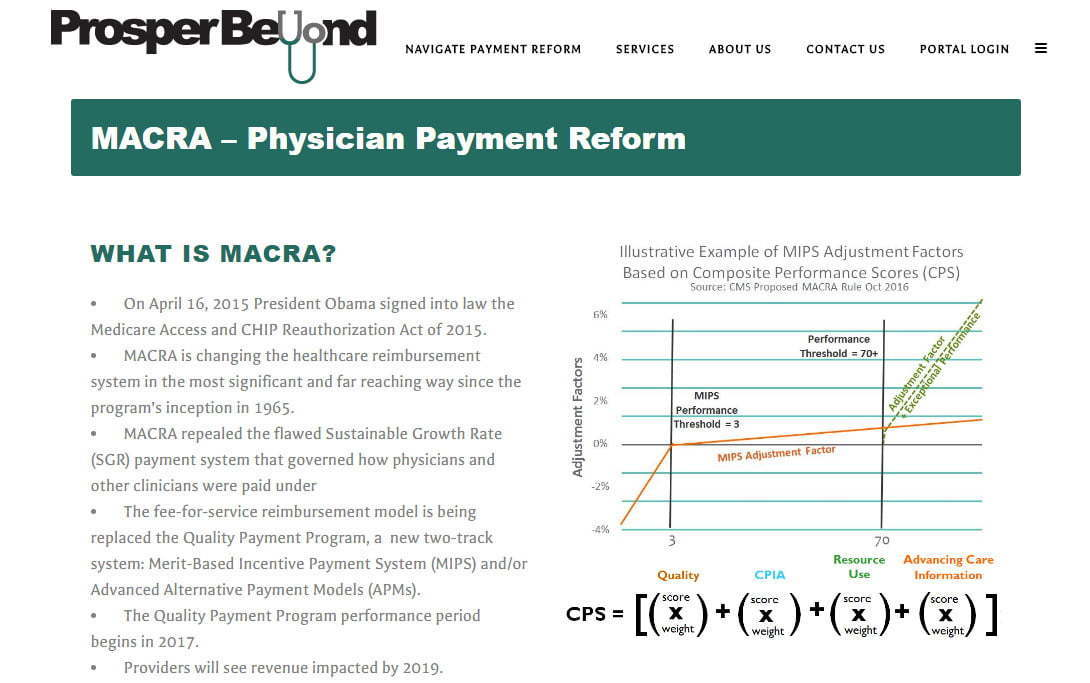 MACRA page on Prosper Beyond - healthcare consulting website