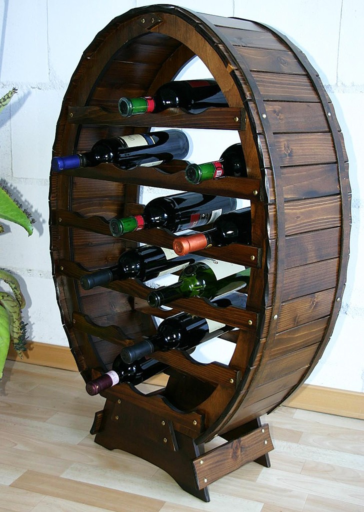 Massivholz Weinregal Flaschenregal Weinfass 24 Flaschen
