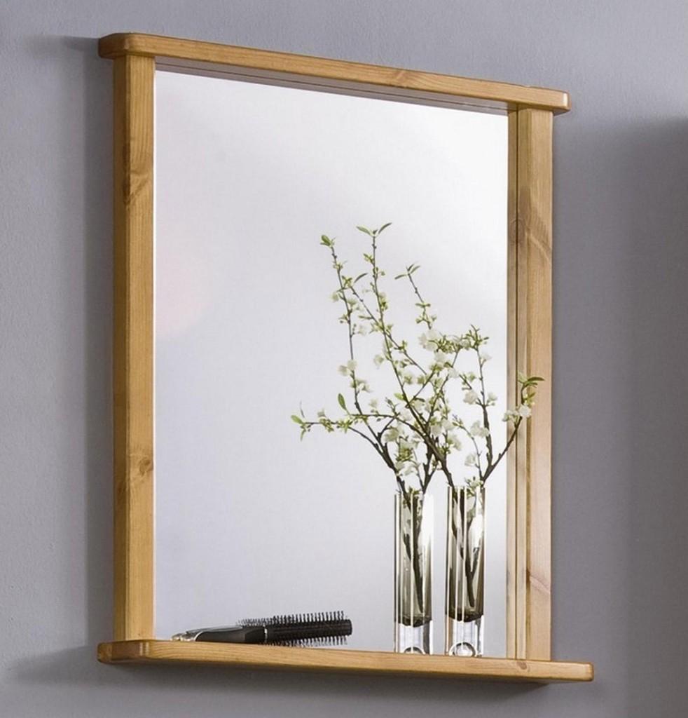 Wandspiegel Bad Flur spiegel mit rahmen und Ablage massiv holz Kiefer honig  eBay